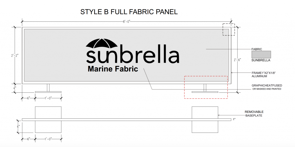 Style B Full Fabric Panel Cafe Barrier