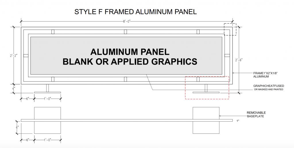 Style F Framed Aluminum Panel Cafe Barrier