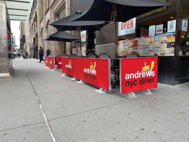 Sidewalk Cafe Barrier Style B Full Fabric Panel