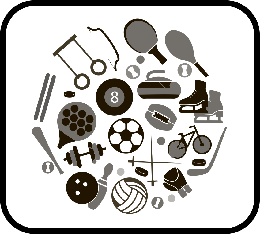 icon depicting a sports with various images of sporting gear
