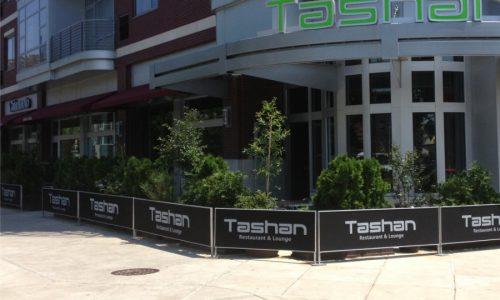 Sidewalk Barriers | Branded Cafe Barriers | Sidewalk Cafe Barricades